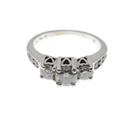 14k White Gold Past Present Future Ring