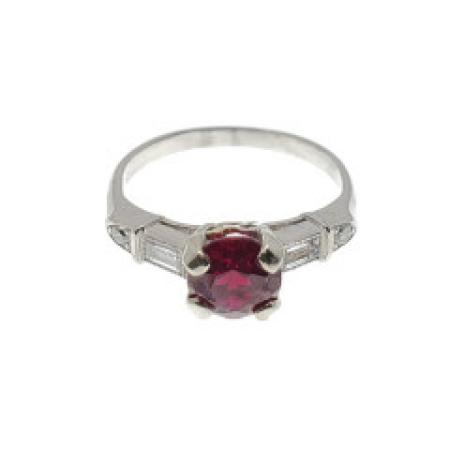 14k White Gold Garnet and Diamond White Gold Ring