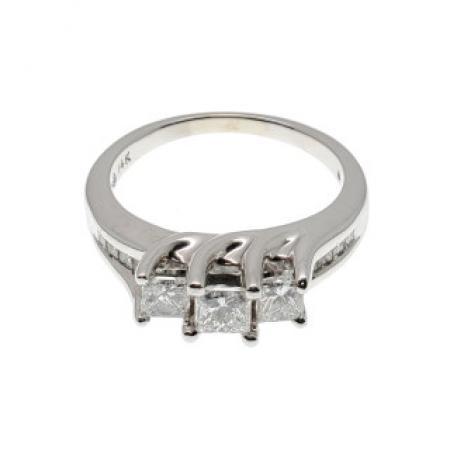 14k White Gold Past Present Future Diamond Ring