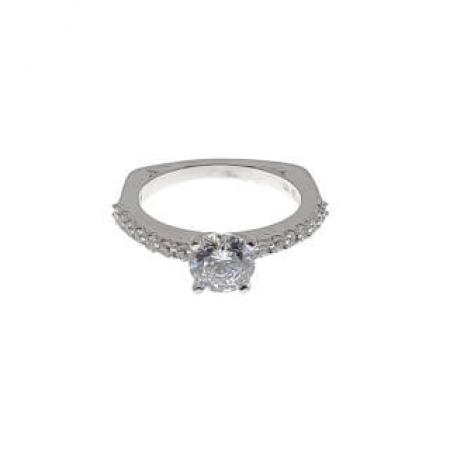 classic side stone engagement ring with euro shank1
