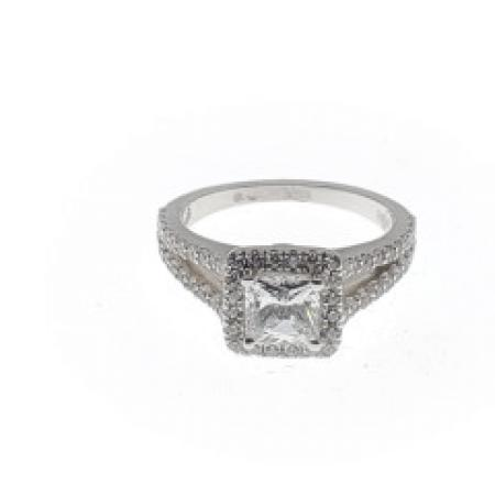 Split Shank Square with Rounded Halo Engagement Ring