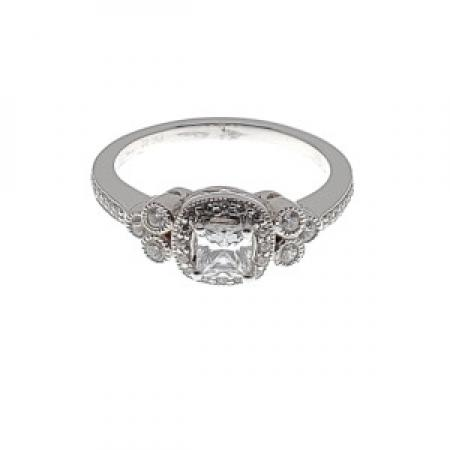 Cushion Cut Halo Engagement Ring with Filigree sides