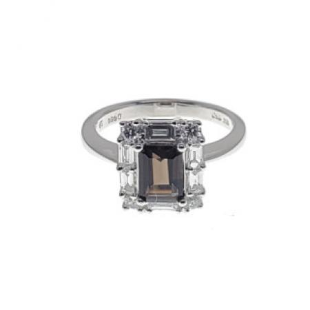 18K White Gold Smokey Quartz Fashion Ring