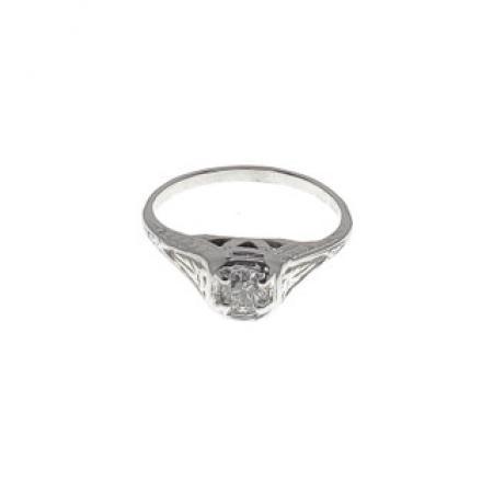 18K White Gold Antique Diamond Ring