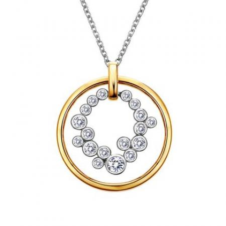 Lafonn .66ctw Simulated Diamond Circle Necklace Two Tone