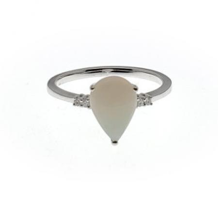 14k White Gold pear shape opal and diamond